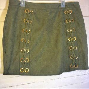 Boohoo Lace Up Mini Skirt Green Vegan Suede